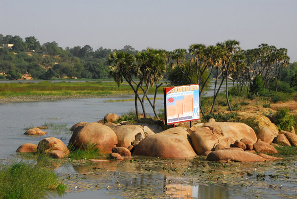 Pretty island in the Niger River at Niamey with a very ugly billboard