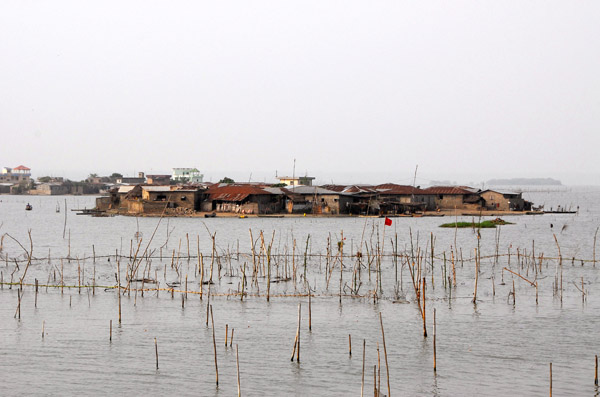 Fish farming by an island village, Lac Ahémé, Bénin