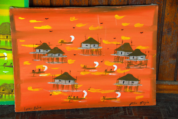 Sample of the paintings of Ganvié available at the shop