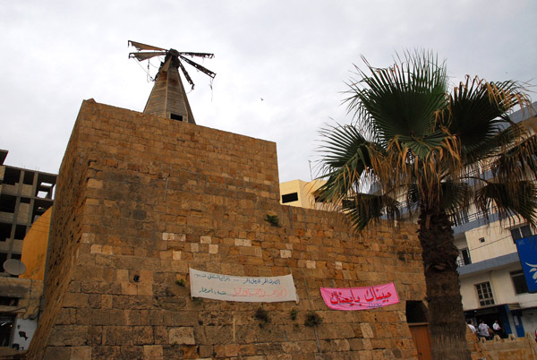 Southern end of the Crusader fortifications at Tartous, wtih a windmill