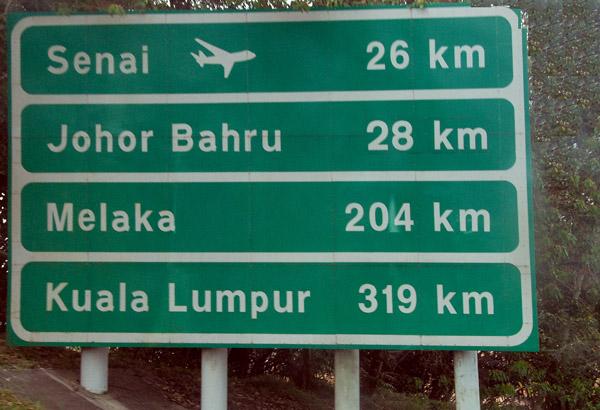 Malaysia distances - Singapore-Melaka 204km