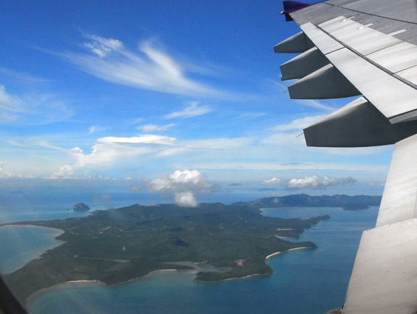 Thai Airways A300 passing Ko Yao Yai on approach to Phuket