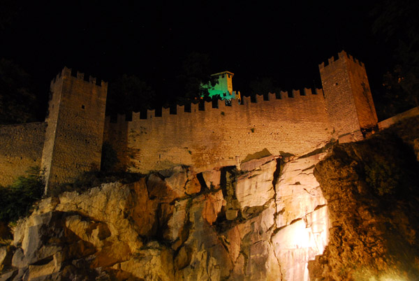 Walls of the old city of San Marino at night