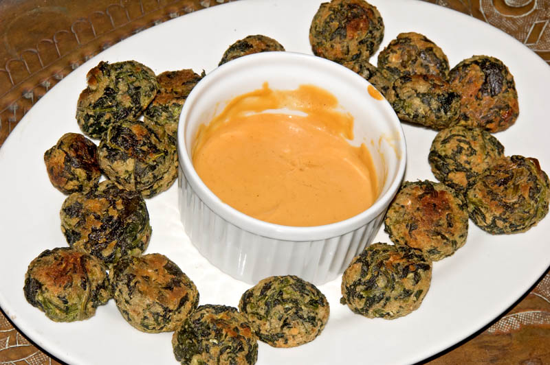 cheese and spinach fritters with honey mustard sauce