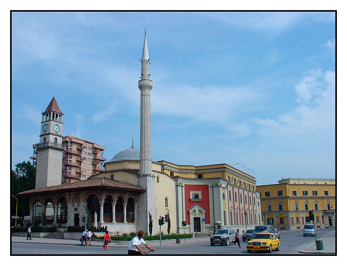 Skanderbeg Square with Ethem Bey Mosque, Tirana