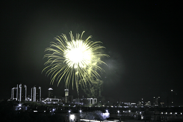 Fireworks over Ft Worth, TX.