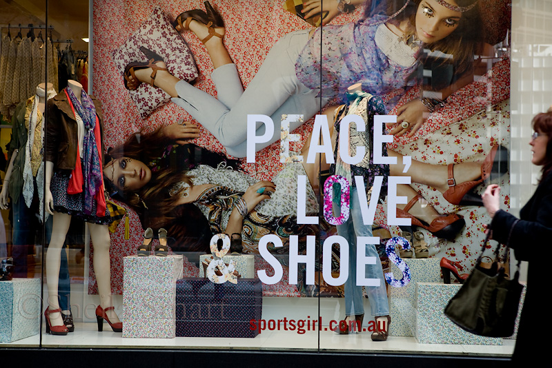 Peace love and shoes sign on George Street, Sydney
