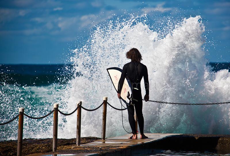 Lone surfer at Avalon