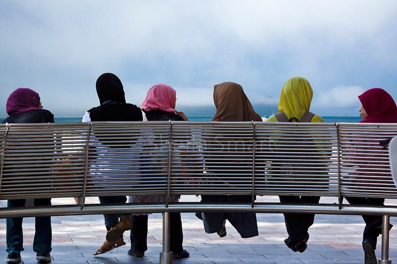 Six Muslim schoolgirls in hijab
