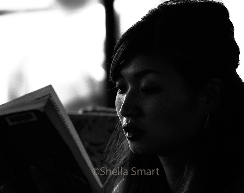 Young woman reading on Manly ferry