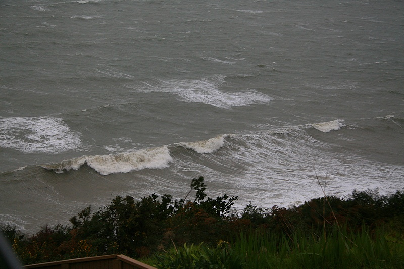 Rough sea below our house.