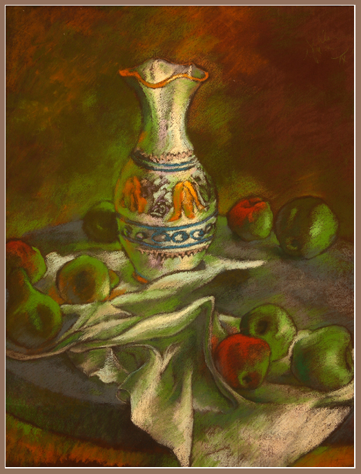 vase & apples