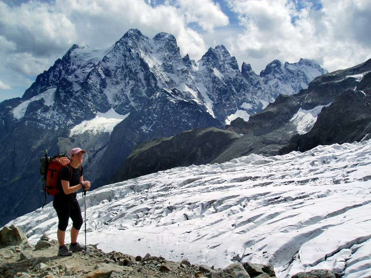 Ecrins French Alps. Glacier Blanc to Mount Pelvoux on the approach to the Ecrins hut