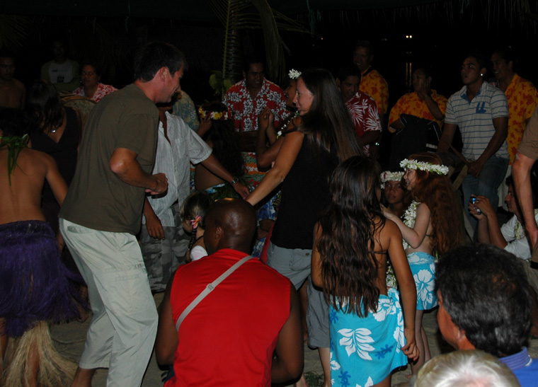 Whooping it up on island night, Aitutaki