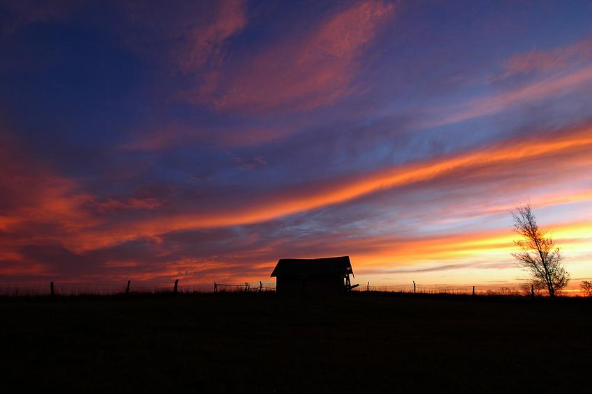 Sunrise with Barn