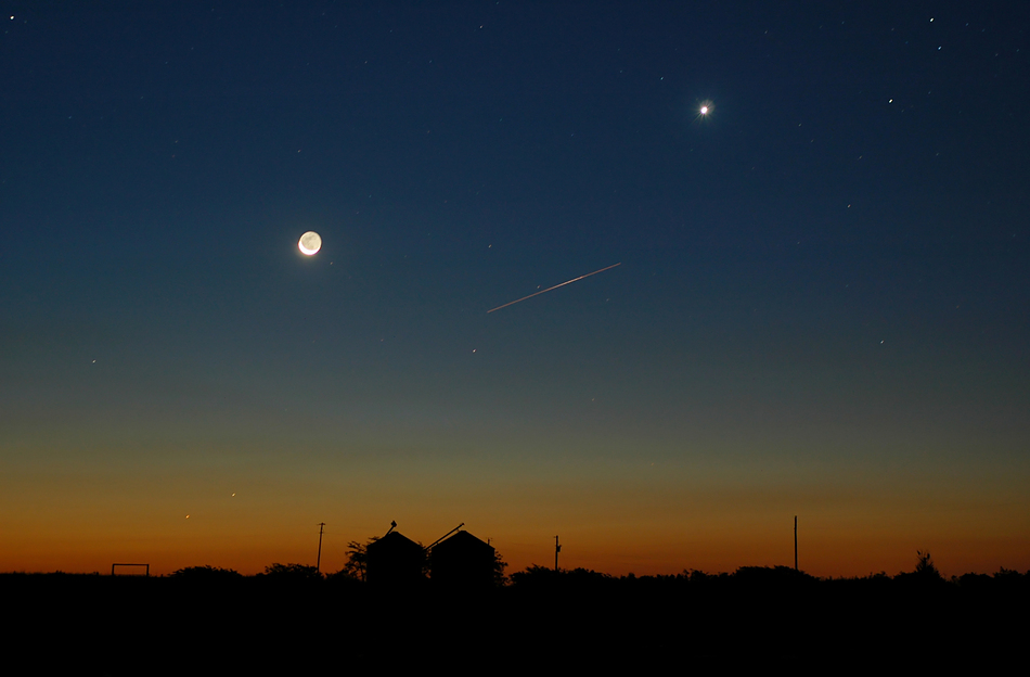 Moon & Venus with International Space Station