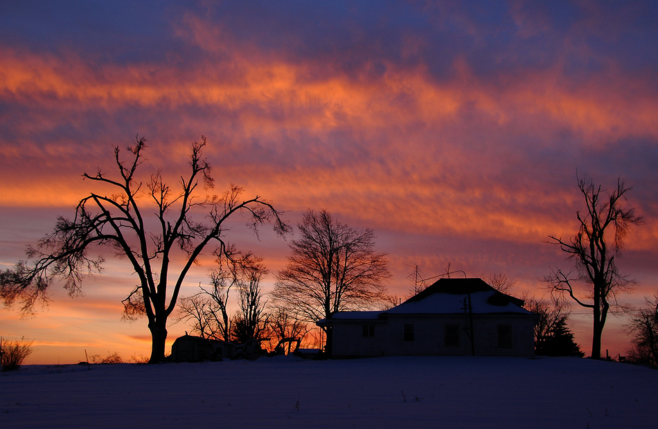 Sunset with House & Trees