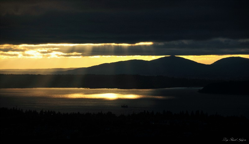 golden rays over Puget Sound