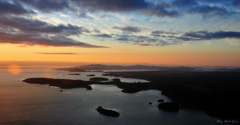 Sunset over Lopez and San Juan Islands