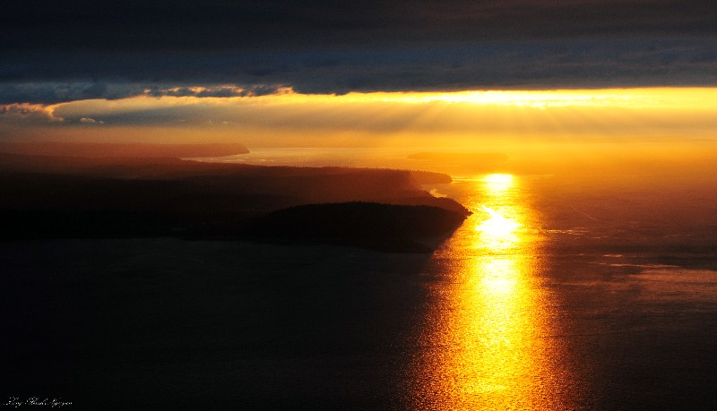 Sunset over Strait of Juan de Fuca and Port Townsend