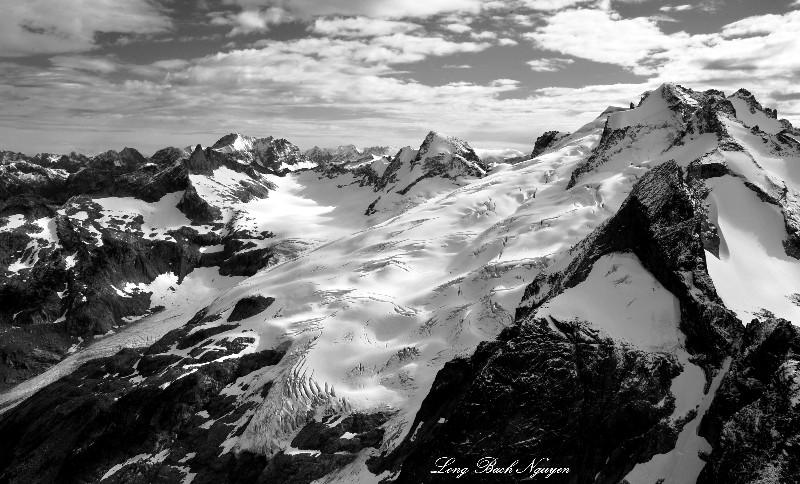 Chickamin Glacier on Dome Peak and Sinister Peak
