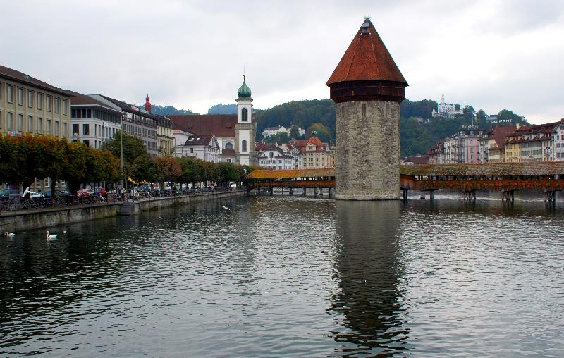 Kapellbrucke and Jesuitenkirche Franz Xaver Luzern
