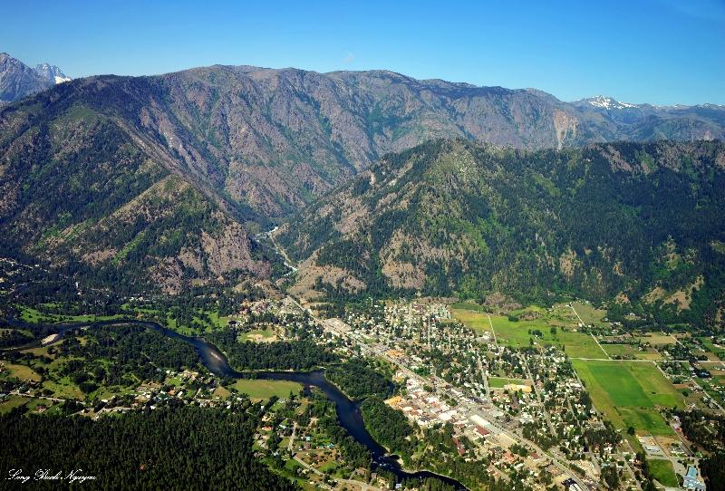 Town of Leavenworth, Icicle Creek River, Tumwater Canyon, Highway 2, Tumwater Mountain, Washington