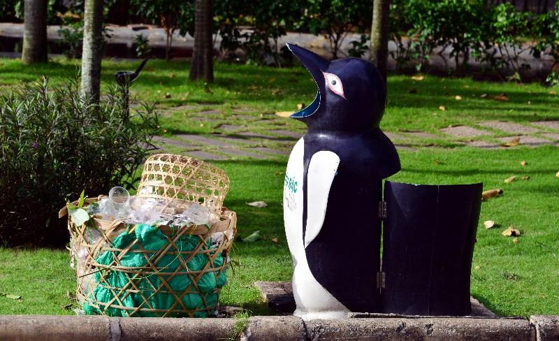 Penguin trash can, Phu My Hung neighborhood, Saigon, Vietnam