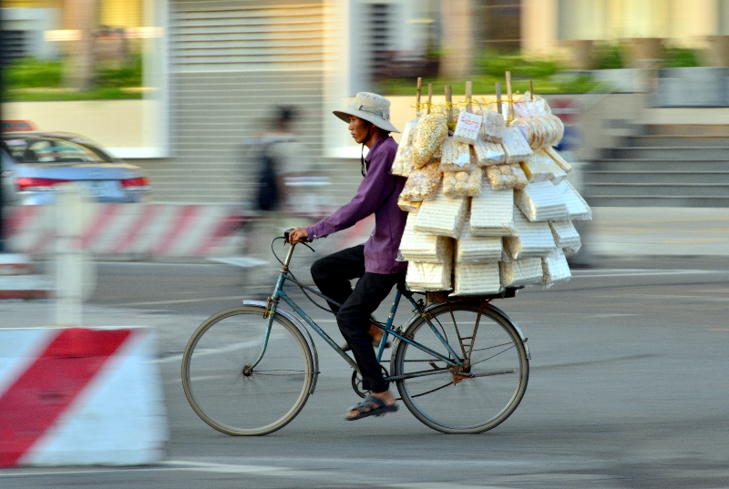 snacks on bike, district 7, Saigon, Vietnam