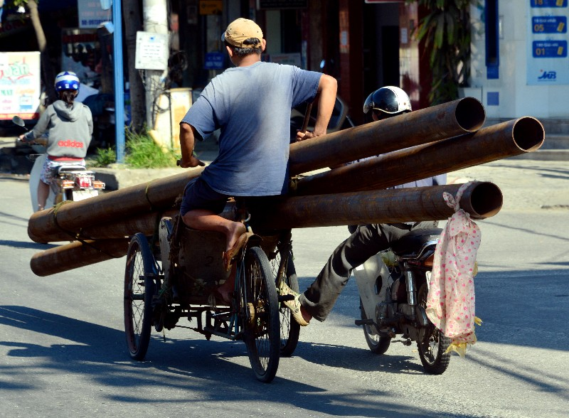 cyclo with metal pipes, Danang, Vietnam