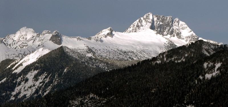 Mt. Bullen, unnamed bump, Salish Peak (dark rock wall), Peak 5903, and Whitehorse Mountain