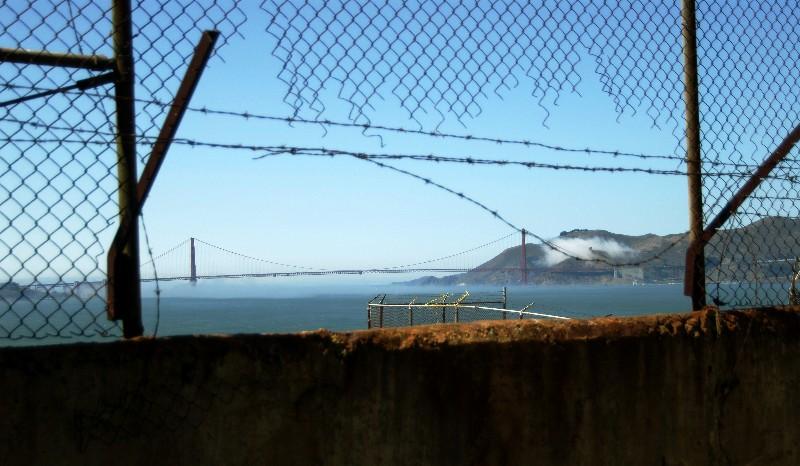 golden gate bridge from Alcatraz