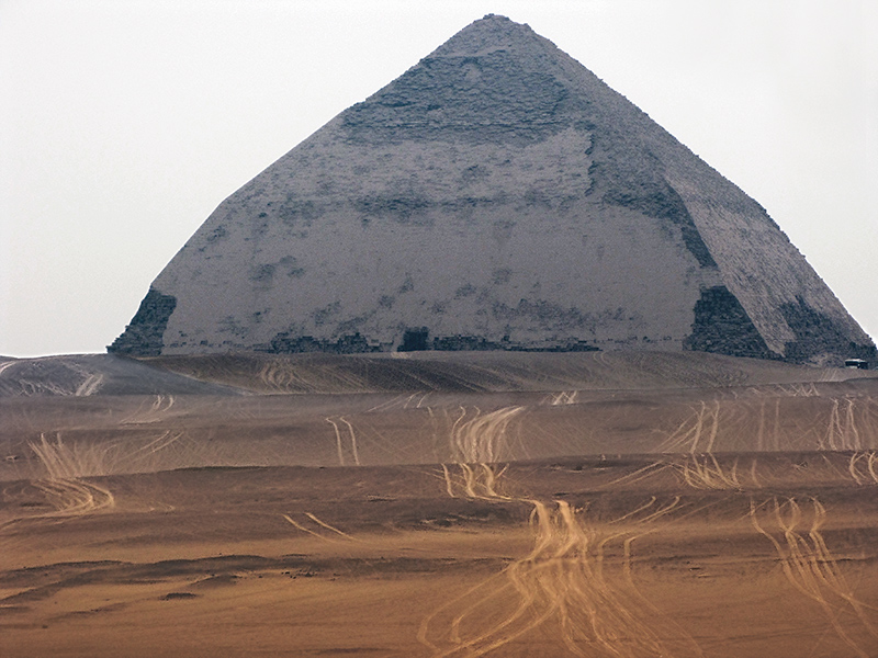 The Bent Pyramid, built by Senefru, father of Cheops/Khufu <br>Much of the limestone covering remains. Dahshur.