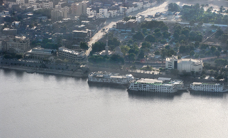 Zoomed view of the Nile and Luxor and the cruise ships