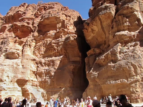 Petra cleft entrance/exit.  FromTreasury bldg.  (From videoclip)