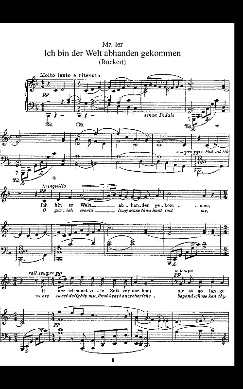 Screenshot of a Mahler song in PDF format