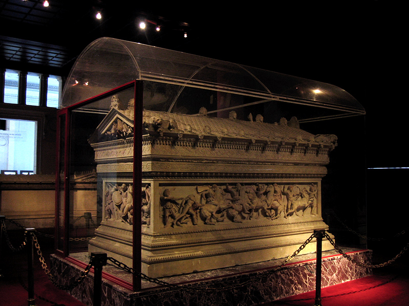 Alexander Sarcophagus - 4th C. BC, in the<br>shape of a temple