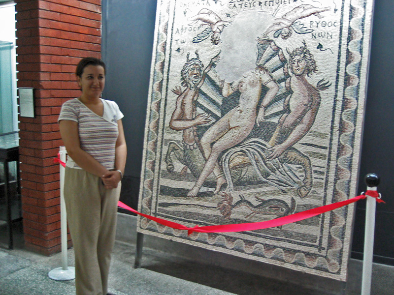 Museum keeper next to Birth of Aphrodite mosaic