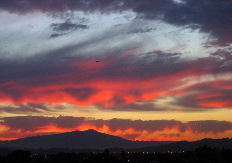 Helicopter helps make it look like a fire scene. Mt. Tamalpais.