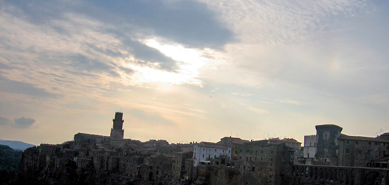 Pitigliano skyline at dusk