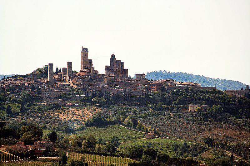 BLURRED. San Gimignano from afar (wind blew me about)