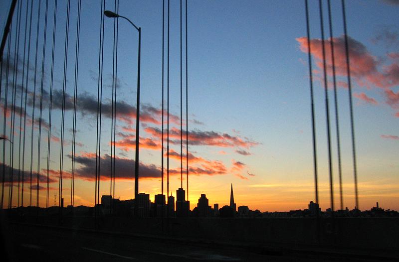 San Francisco skyline  from bay bridge