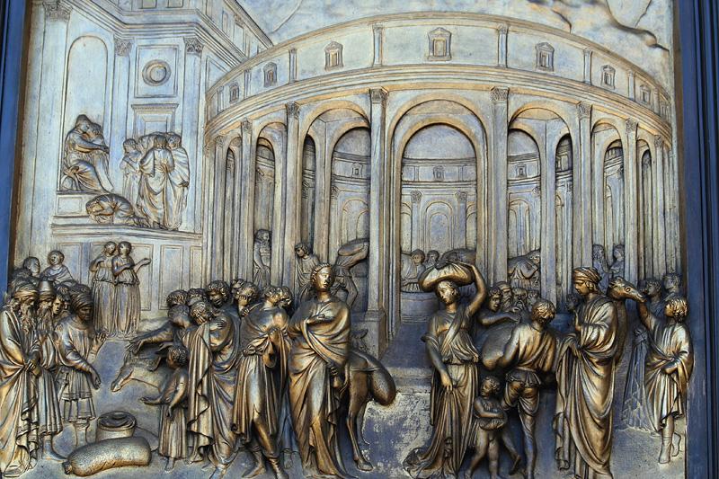 Ghiberti doors, exact copy of famous 15th C origls, at Grace Cathedral!