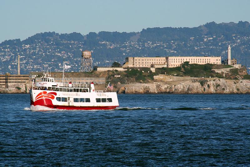 Alcatraz and passing boat