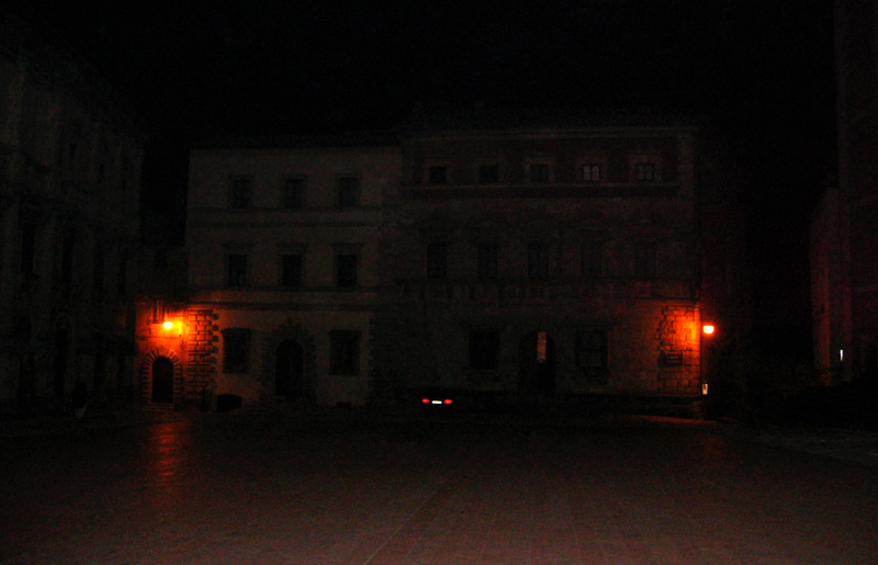 Back to now dark, quiet piazza after dinner