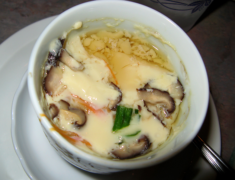 Egg custard soup with DELICIOUS mushrooms