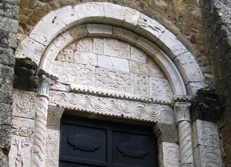 Detail on door.  Church was built atop older existing structure-6th C?
