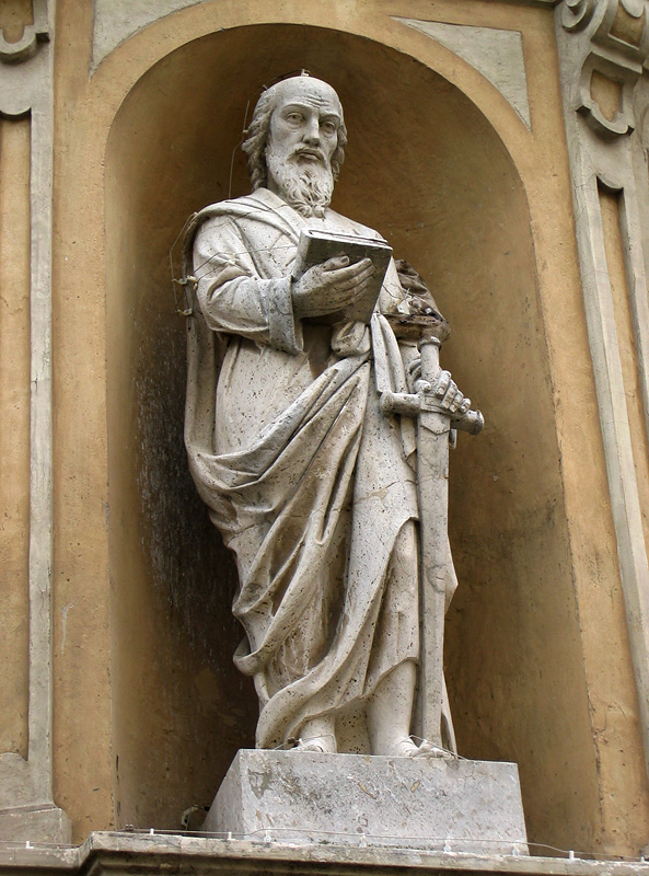 Statue outside the Pitigliano Cathedral of Saints Peter and Paul