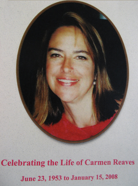 Memorial card for Carmen Reaves today, made by Allen and Maya