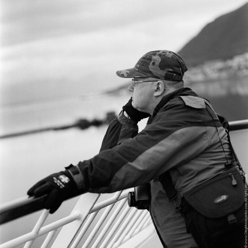 Sergey leaving Tromso by ferry